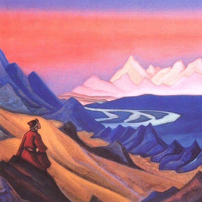 Фрагмент картины: Николая Рериха Тангла песнь о Шамбале к стихотворению Путь в Обитель