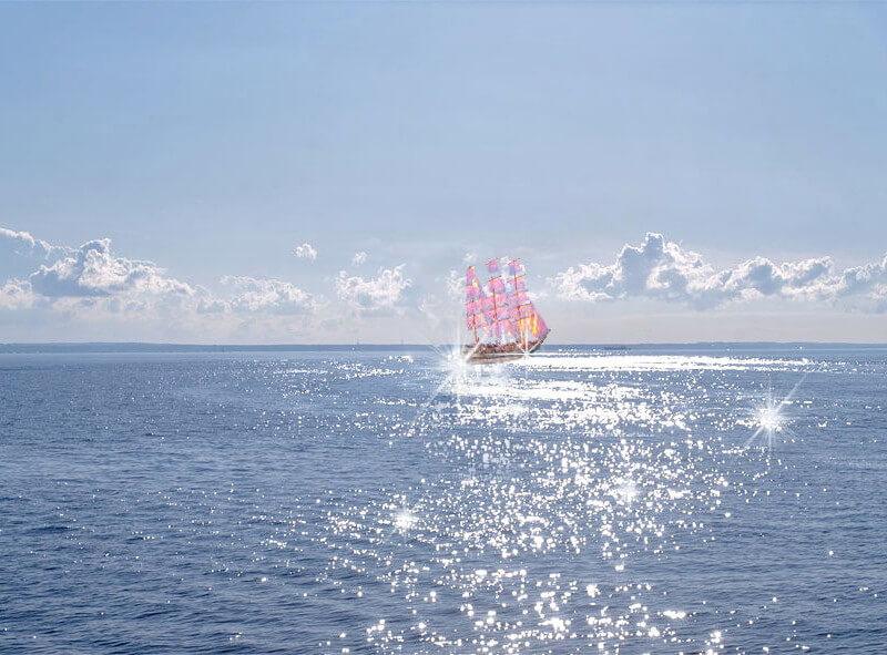 Уплывает корабль в океан